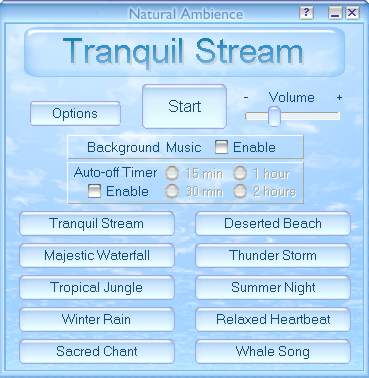 Natural Ambience - Sound Therapy Software 1.5 software screenshot