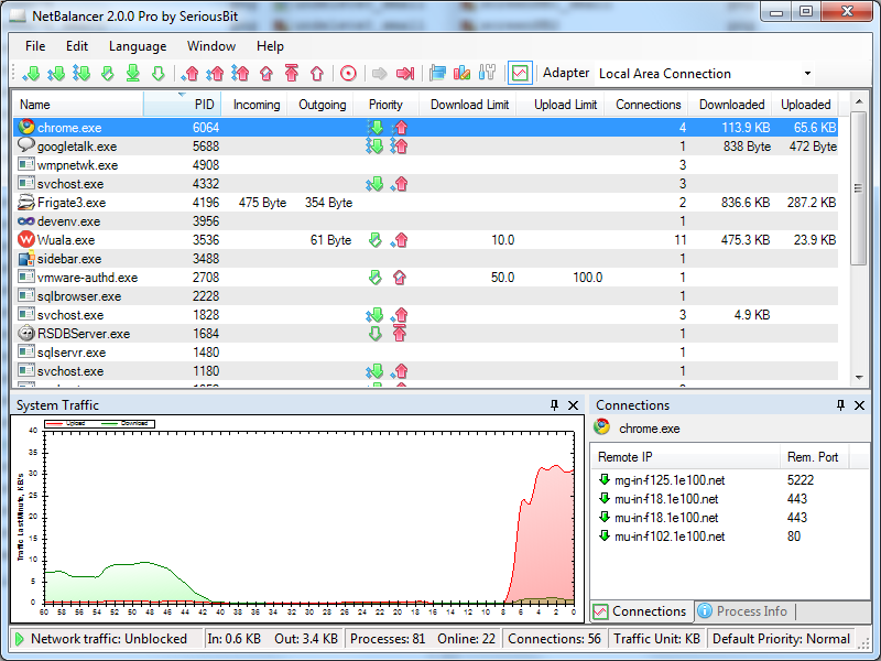 NetBalancer 9.10.2.170703.1122 software screenshot
