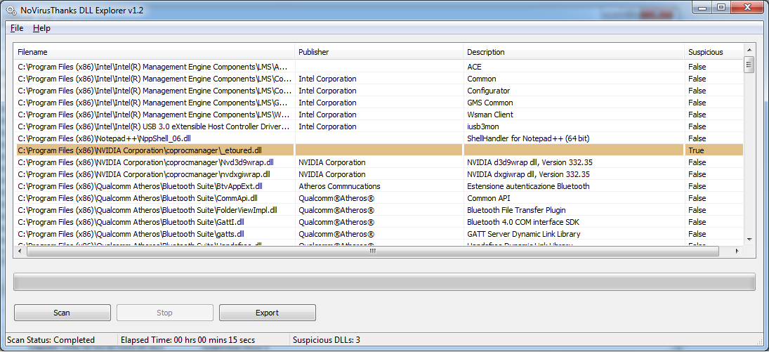 NoVirusThanks DLL Explorer 1.2.0.0 software screenshot