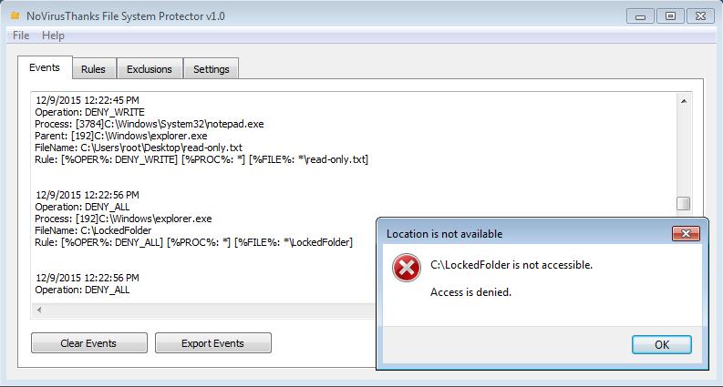 NoVirusThanks File System Protector 1.0.0.0 software screenshot