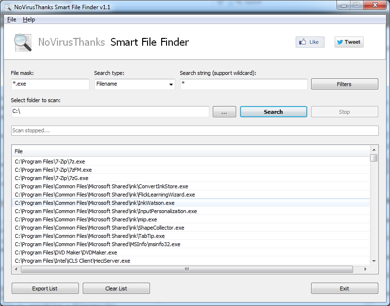NoVirusThanks Smart File Finder 1.1 software screenshot