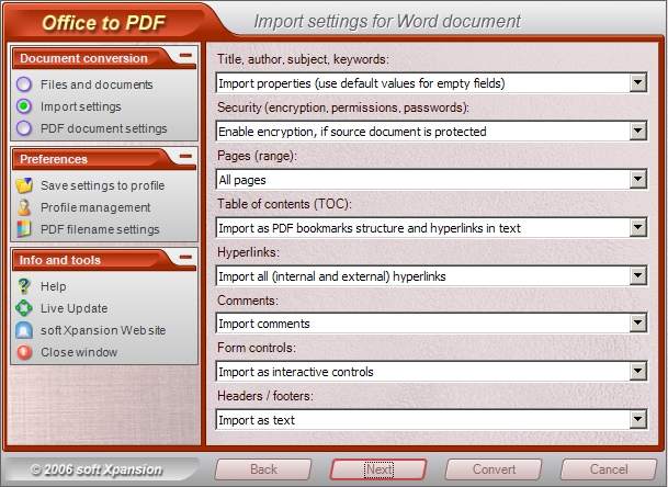 Office to PDF 1.0 software screenshot