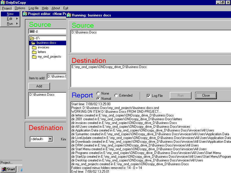 OnlyDirCopy 2.0 software screenshot