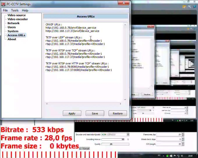 PC-CCTV 1.0.7.4 software screenshot