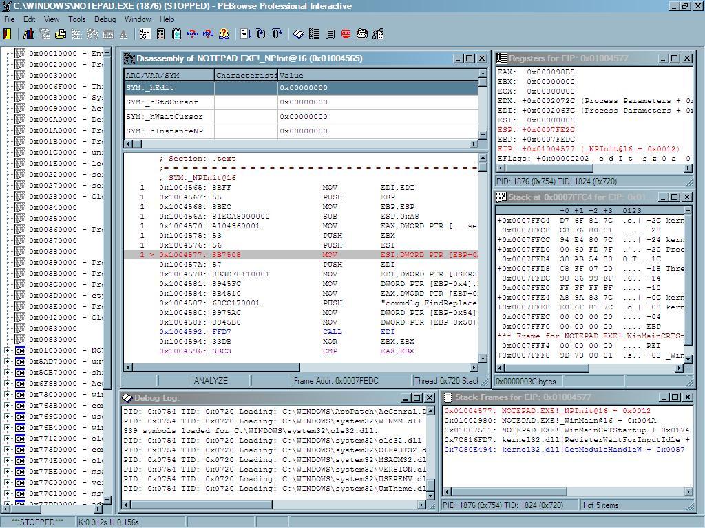 PEBrowse Professional Interactive 8.0 software screenshot