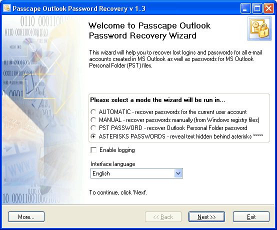Passcape Outlook Password Recovery 3.0.0.291 software screenshot