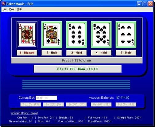 Poker Mania 3.3.3.052 software screenshot