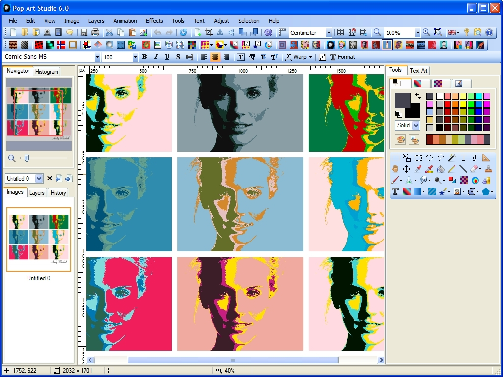 Pop Art Studio 9.0 software screenshot