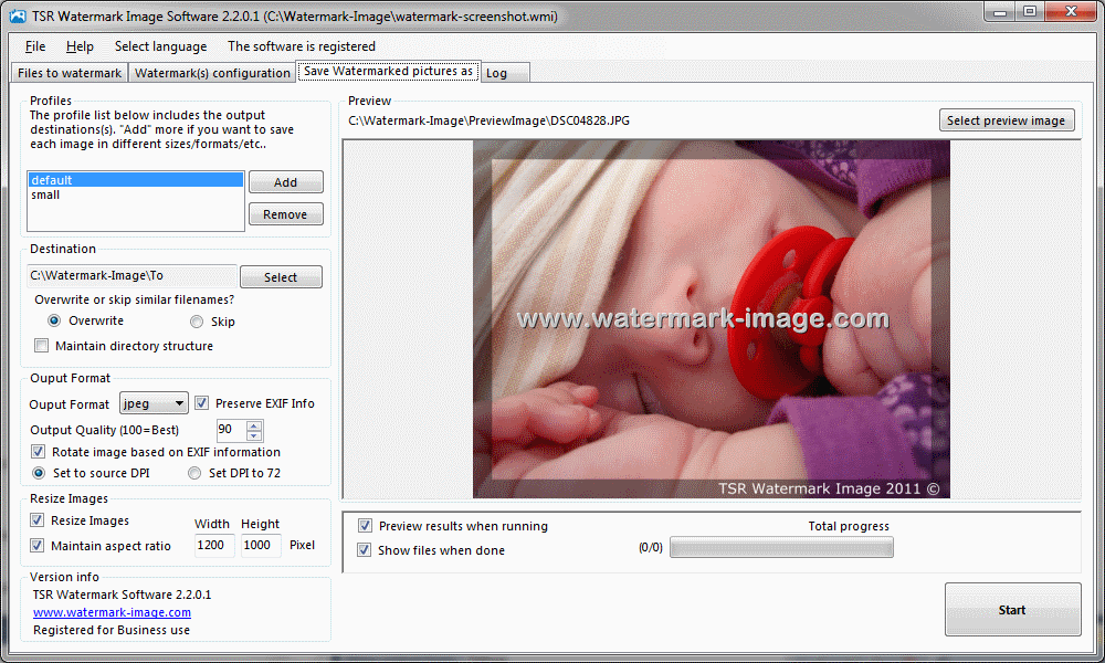 Portable TSR Watermark Image Software Free Version 3.5.8.1 software screenshot