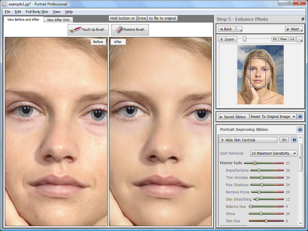 PortraitPro 15.7.3 software screenshot