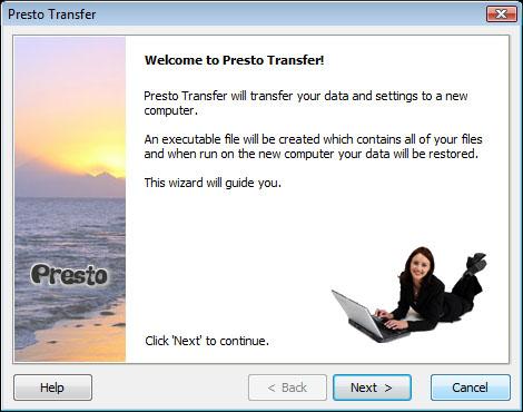 Presto Transfer QuickBooks 3.29 software screenshot