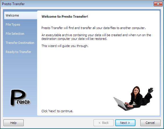 Presto Transfer Windows Mail 3.32 software screenshot