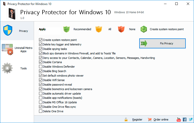 Privacy Protector for Windows 10 1.6.0.1 software screenshot