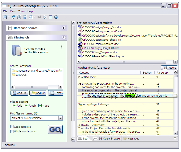 ProSearchMDB 2.1.18 software screenshot