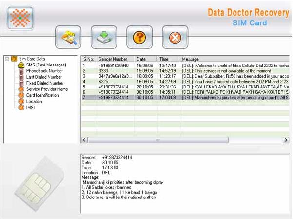 Professional Sim Card Recovery 3.0.1.5 software screenshot