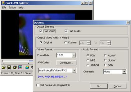 Quick AVI Splitter 2.1 software screenshot