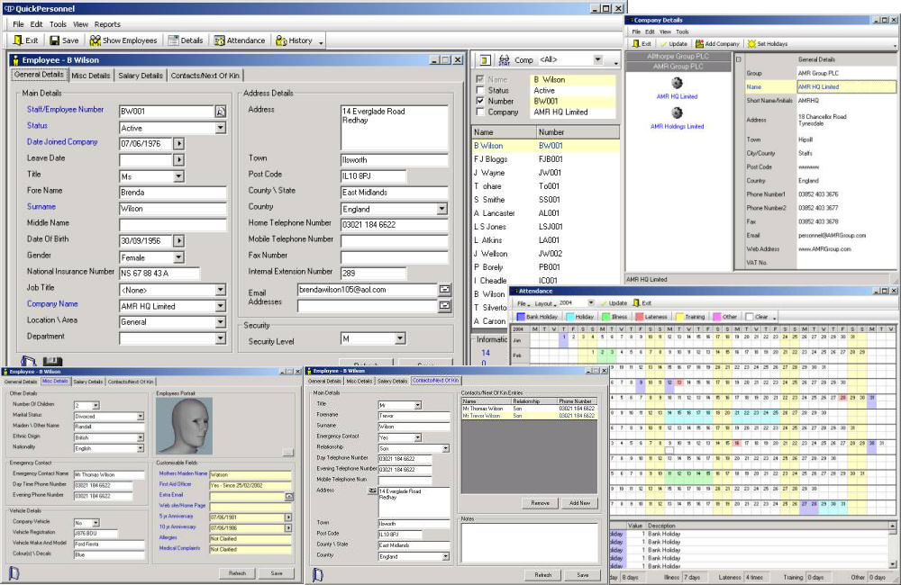Quick Personnel 1.9 software screenshot