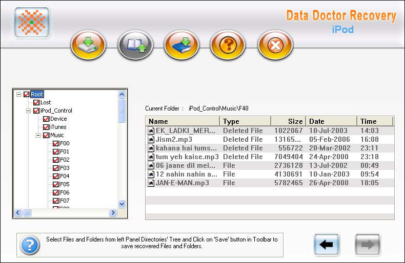 Recover iPod Contacts Pictures Songs 3.0.1.5 software screenshot