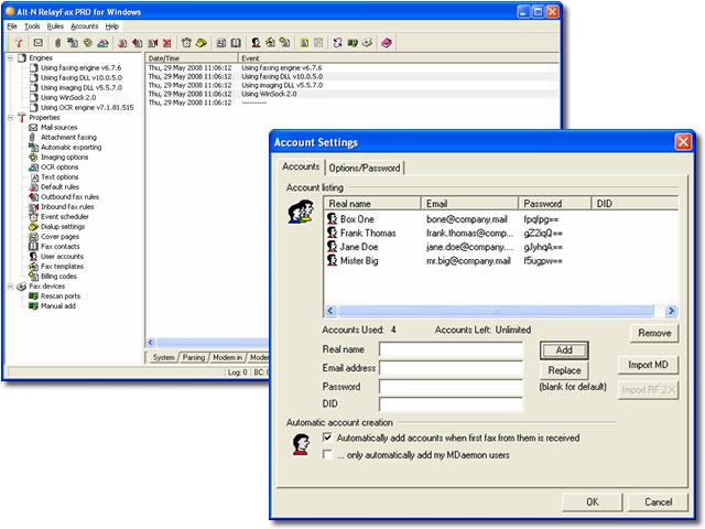 RelayFax Network Fax Manager 7.0.0 software screenshot