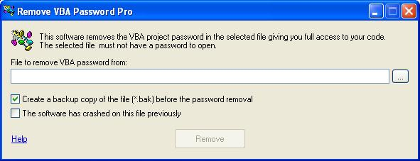 Remove VBA Password 4.7.80 software screenshot