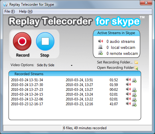 Replay Telecorder for Skype 2.4 software screenshot