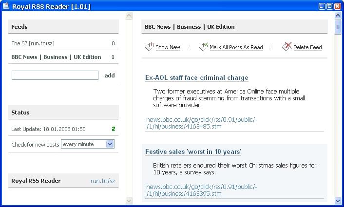 Royal RSS Reader 1.57 software screenshot