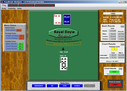 RoyalDoyle Blackjack Analyzer 3.0.0 software screenshot