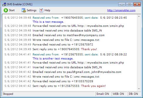 SMS Enabler 2.6.9 software screenshot