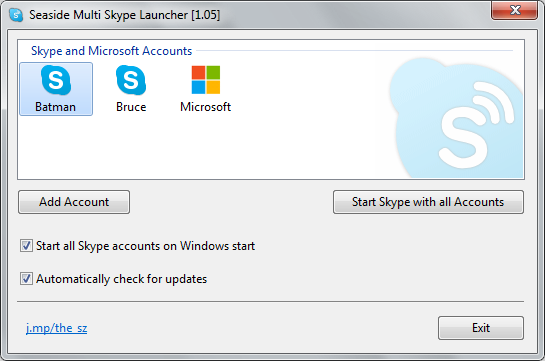 Seaside Multi Skype Launcher 1.15 software screenshot