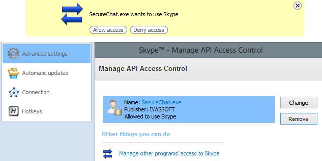 SecureChat for Skype 1.0.0.9 software screenshot