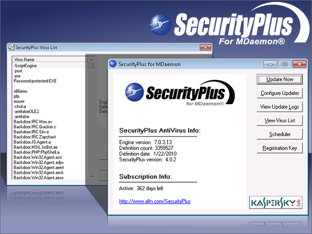 SecurityPlus for MDaemon 4.1.2 software screenshot