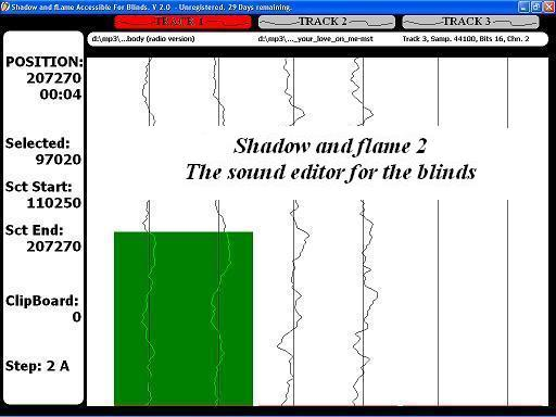 Shadow and fLame Accessible For Blinds 2.0 software screenshot