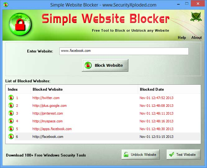 Simple Website Blocker 4.0 software screenshot