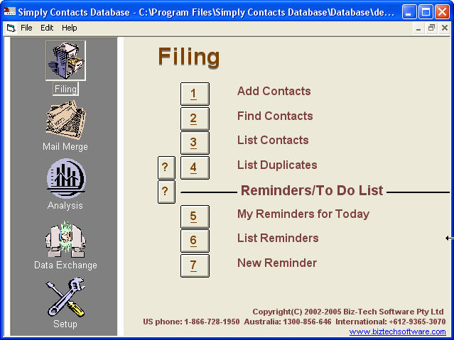 Simply Contacts Database 2.8 software screenshot