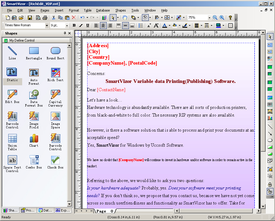 SmartVizor Variable text Print Software 12.5.10.1025 software screenshot