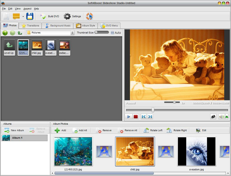 Soft4Boost Slideshow Studio 3.9.7.485 software screenshot
