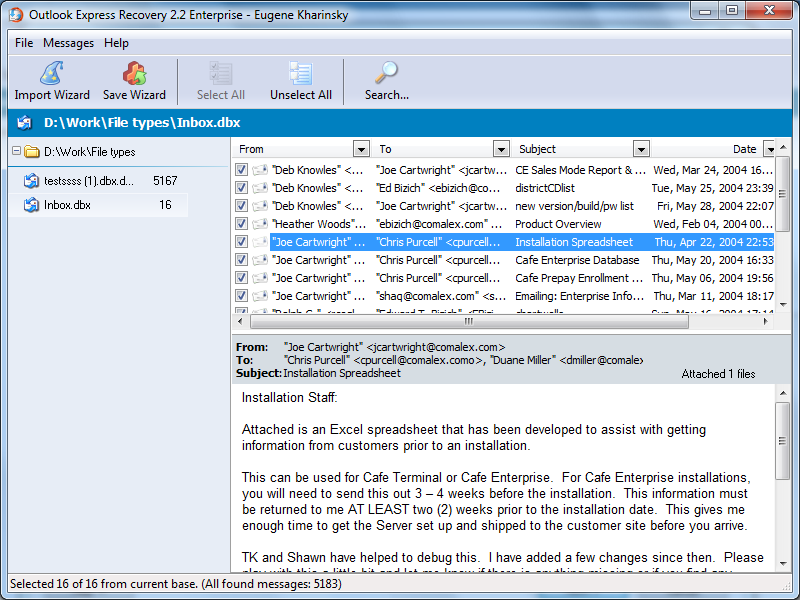 SoftAmbulance 4 Outlook Express 1.68 software screenshot