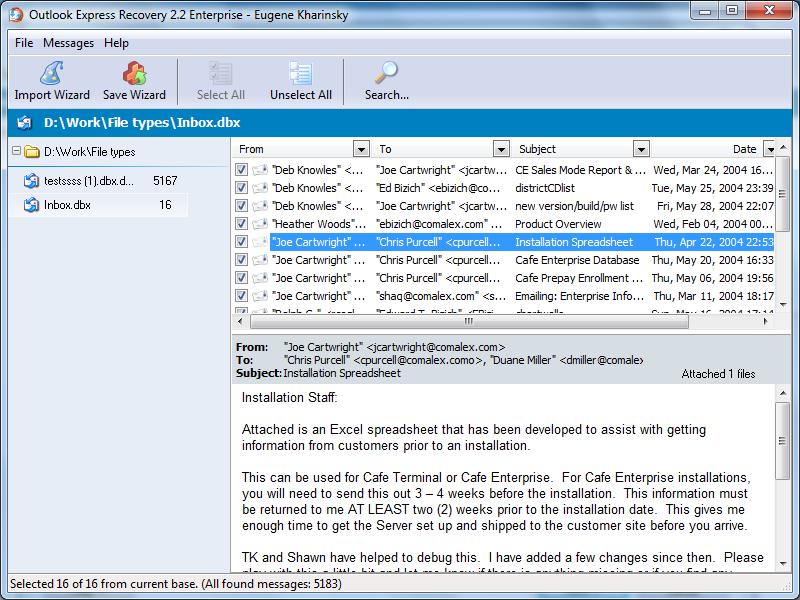 SoftAmbulance 4 Outlook Express 1.68 software screenshot