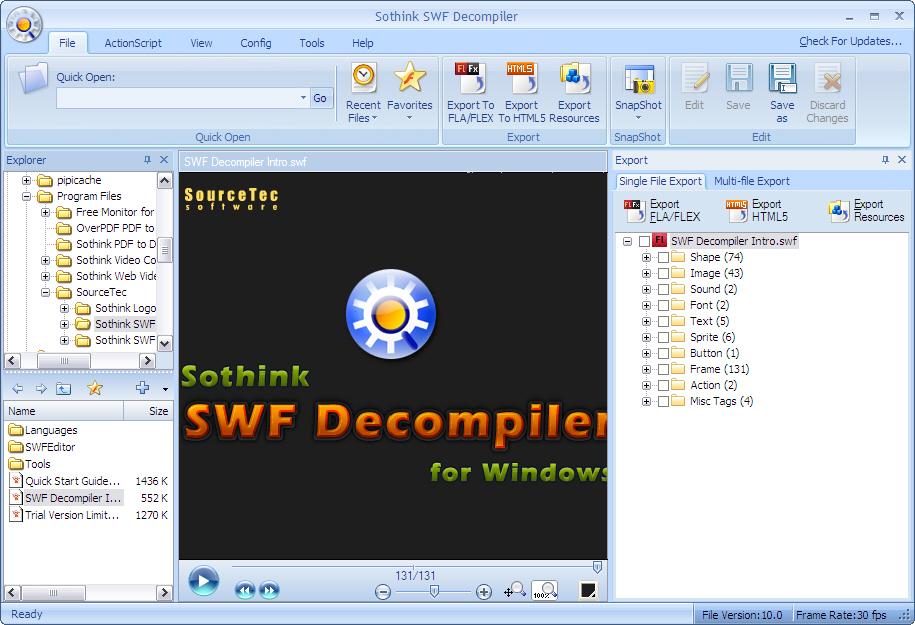 Sothink SWF to FLA Converter 6.6 software screenshot