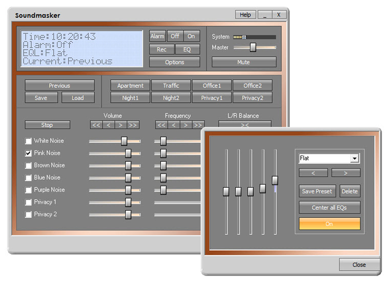 Soundmasker 7.0 software screenshot