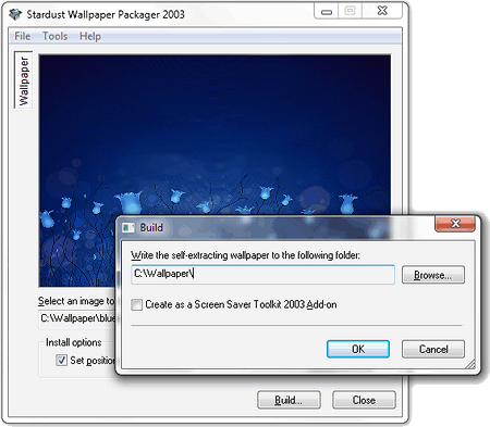 Stardust Wallpaper Packager 2003 1.0.0.5 software screenshot