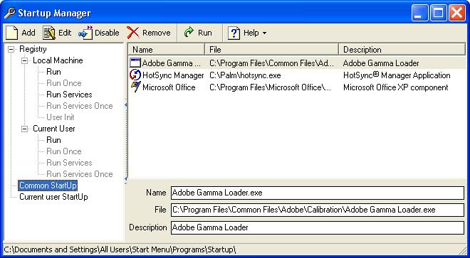 Startup Manager 2.4.2 software screenshot