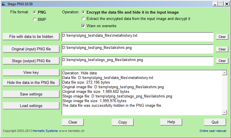 Stego PNG 11.01t software screenshot