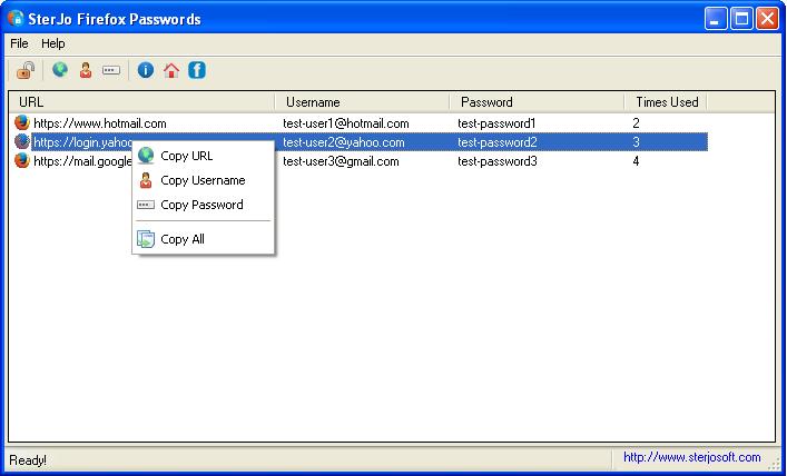 SterJo Firefox Passwords 1.4 software screenshot