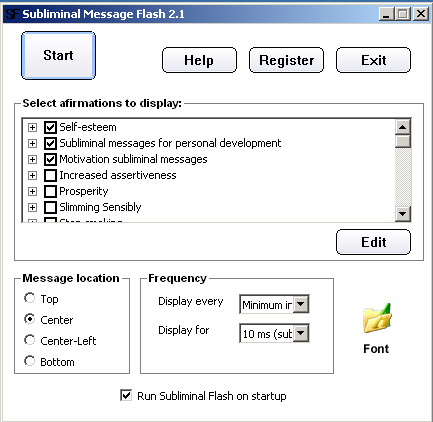 Subliminal affirmations 2.2 software screenshot