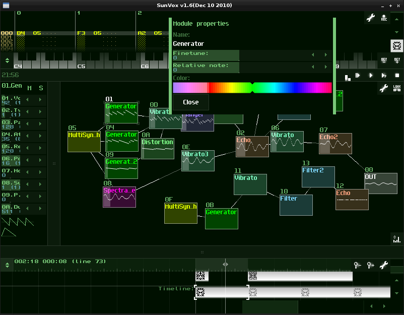 SunVox 1.8 software screenshot