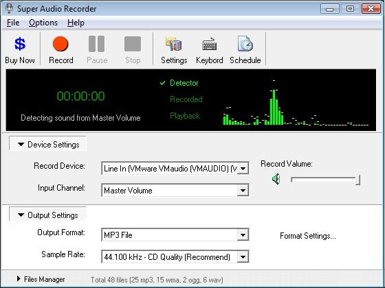 Super Audio Recorder 8.86 software screenshot