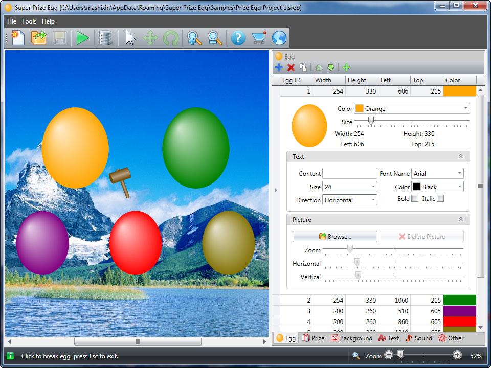 Super Prize Egg 2.1.6 software screenshot