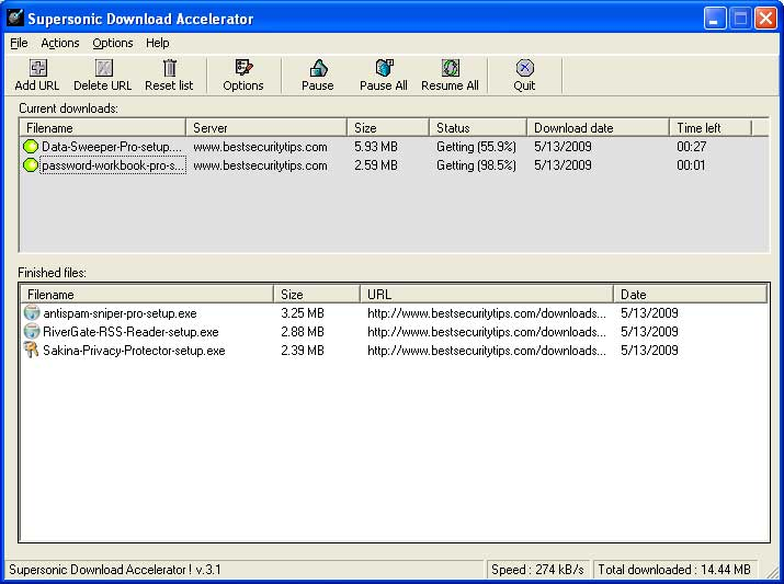 Supersonic Download Accelerator 4.7.0 software screenshot
