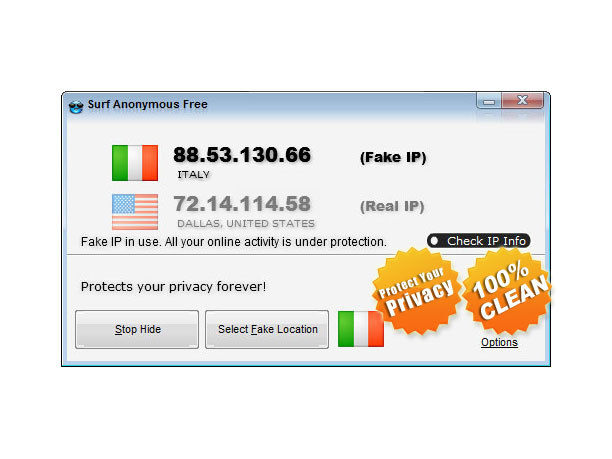 Surf Anonymous Free 2.5.9.8 software screenshot
